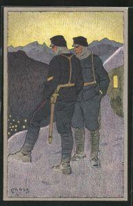 Künstler-AK Carl Moos: Zwei schweizer Soldaten in Uniformen in den Bergen