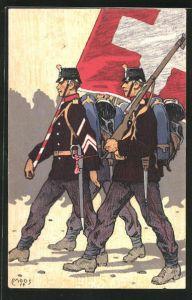 Künstler-AK Carl Moos: Zwei schweizer Soldaten in Uniformen mit Flagge