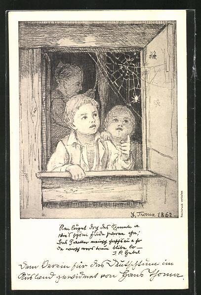 Künstler-AK Hans Thoma: Zwei Kinder am Fenster schauen auf ein Spinnennetz