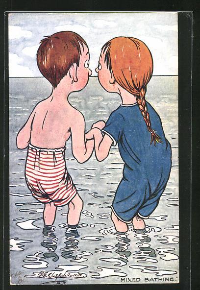Künstler-AK George Edward Shepheard: Junges Paar beim Baden