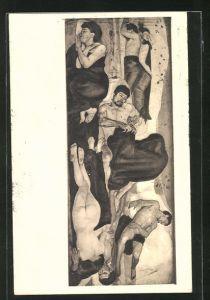 Künstler-AK Ferdinand Hodler: Die Nacht, 1890