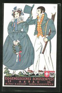 AK Aarau, Eidgenössisches Schützenfest 1924, Jahrhundertfeier, Mann mit Gewehr und Frau mit Eichenkranz