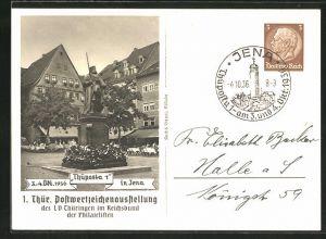 AK Jena, 1. Thür. Postwertzeichen-Ausstellung 1936, Ortsansicht, Ganzsache