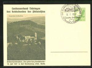 AK Bad Blankenburg, Postwertzeichenschau Das grüne Herz Deutschlands 1937, Ganzsache, Burgruine Greifenstein