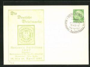 AK Ausstellung Die Deutsche Briefmarke, 1 Kreuzer in grün, Ganzsache