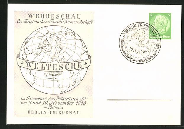 AK Berlin, Werbeschau der Briefmarken-Tausch-Kameradschaft 1940, Ganzsache