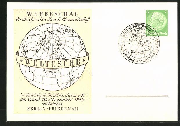 AK Berlin-Friedenau, Wrbeschau der Briefmarken-Tausch-Kameradschaft 1940, Ganzsache