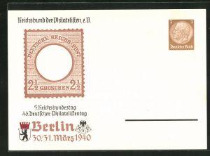 AK Berlin, 5. Reichsbundestag 46. Deutscher Philatelistentag 1940, Briefmarke, Ganzsache