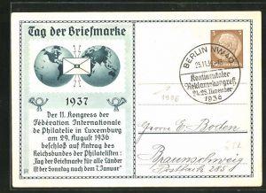 AK Ganzsache Tag der Briefmarke, II. Kongress der Federation Intern. de Philatelie Luxemburg 1936, PP 122 C35 /03