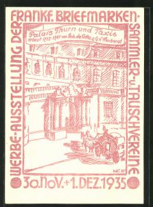 AK Werbe-Ausstellung der Fankfurter Briefmarken- u. Tauschvereine 1935, Palais Thun & TAxis, Ganzsache