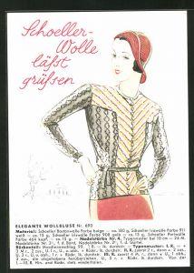 AK Schoeller-Wolle lässt grüssen, Elegante Wollbluse Nr. 690, Reklame