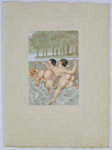 Peter Fendi - Erotik Lithographie 30x40cm Damen & Mann in Akt beim Nacktbaden
