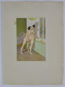 Peter Fendi - Erotik Lithographie 30x40cm Paar in Akt beim Liebesspiel am Fenster