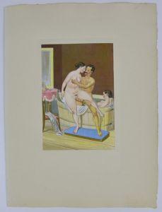 Peter Fendi - Erotik Lithographie 30x40cm Mann in Akt nebst nackten Damen im Bad