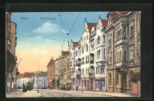 AK Zittau, Bahnhofstrasse mit Passanten