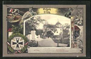 AK Zittau, Stadtgärtnerei mit König Albert-Denkmal mit Passepartoutrahmen Ritter mit Schild auf seinem Pferd