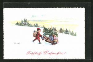 Künstler-AK Elly Frank: Fröhliche Weihnachten, Knabe mit Karre voller Geschenke und Tannenbaum im Winter