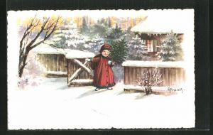 Künstler-AK Elly Frank: Mädchen mit Tannenbaum am Gartentor im Winter