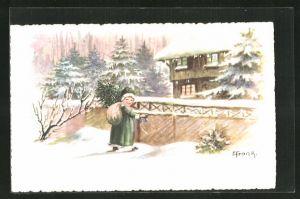 Künstler-AK Elly Frank: Mädchen mit Sack auf dem Rücken am Gartentor im Winter