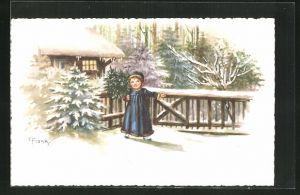 Künstler-AK Elly Frank: Mädchen mit Tanne am Gartenzaun im Winter