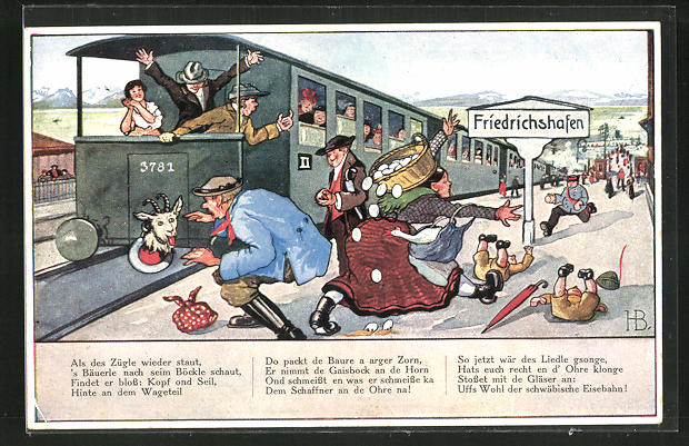 Künstler-AK Hans Boettcher: Schwäbische Eisenbahn, Chaos auf dem Bahnsteig