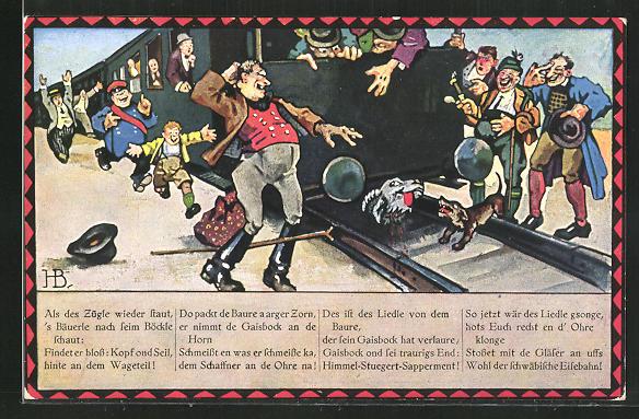 Künstler-AK Hans Boettcher: angefahrenes Tier unter einer schwäbischen Eisenbahn