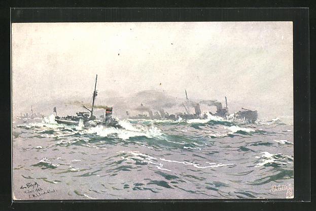 Künstler-AK Hans Bohrdt: Depeschenboot des Flottenflagschiffs mit Hochseetorpedoboote im Hintergrund