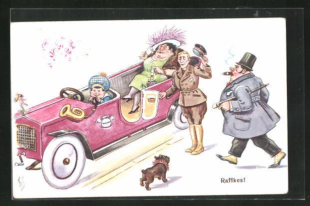 Künstler-AK Willi Scheuermann: Raffkes!, Chauffeur hält einem Herren die Autotür auf