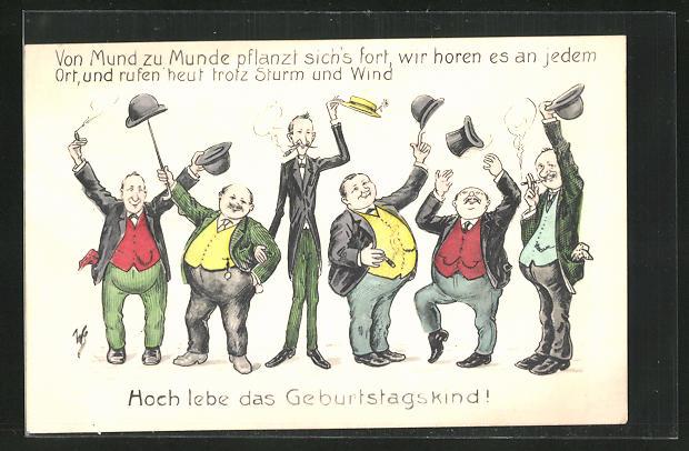 Künstler-AK Willi Scheuermann: Hoch lebe das Geburtstagskind!, jubelnde Geburtstagsgesellschaft