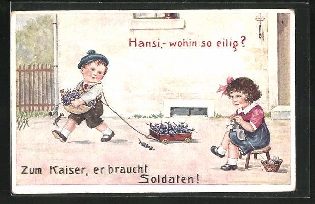 Künstler-AK Willi Scheuermann: Knabe bringt dem Kaiser Spielzeugsoldaten