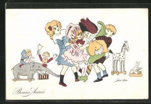 Künstler-AK Xavier Sager: Bonne Annee, Kinder mit Spielzeug und Clowns-Puppe