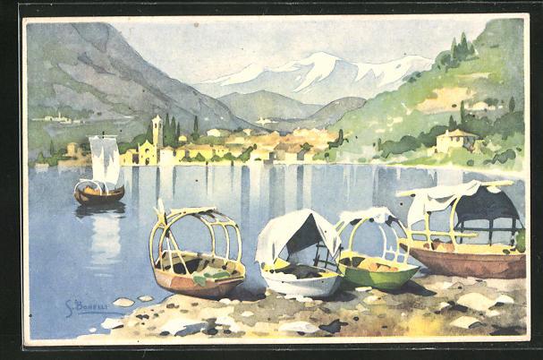 Künstler-AK S. Bonelli: Landschaftsmotiv mit Segelbooten