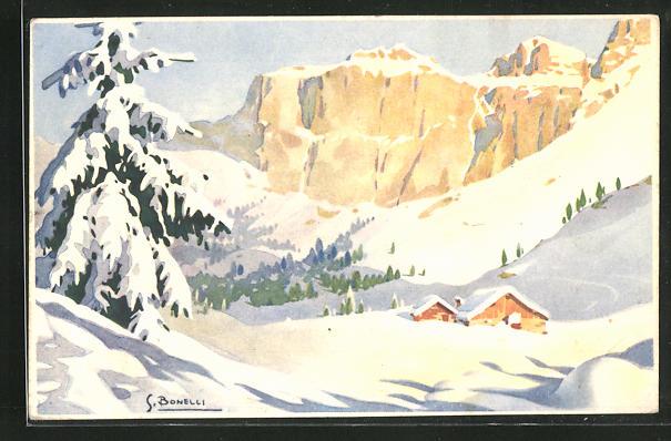 Künstler-AK S. Bonelli: Winterlandschaft mit Berghütten