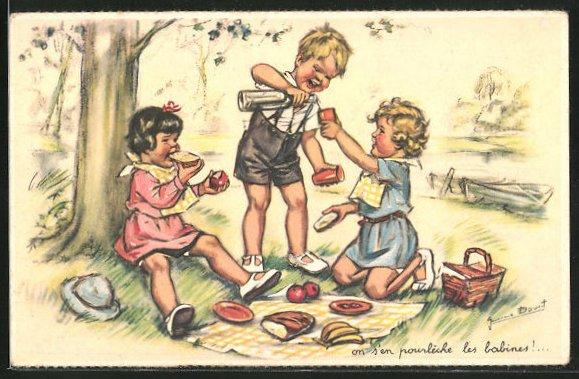 Künstler-AK Germaine Bouret: Kinder picknicken am Baum