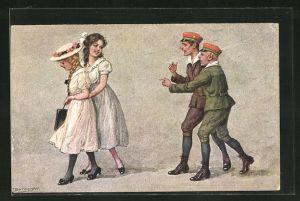Künstler-AK R. Borrmeister: Früh übt sich..., junge Soldaten flirten mit jungen Frauen