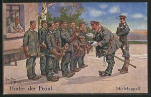 Künstler-AK Arthur Thiele: Hinter der Front, Soldaten beim Stiefelappell