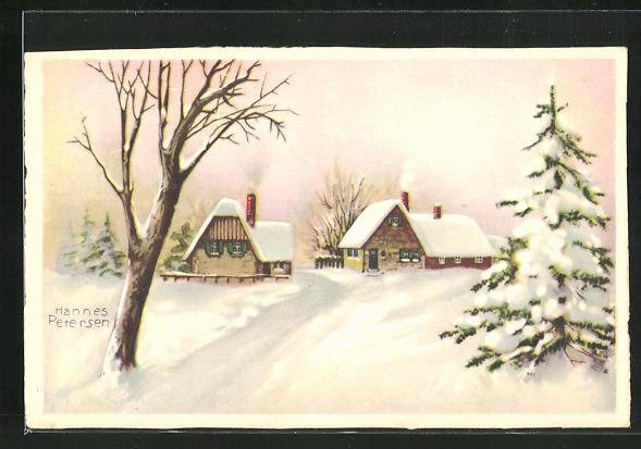 Künstler-AK Hannes Petersen: Dorfpartie im Schnee