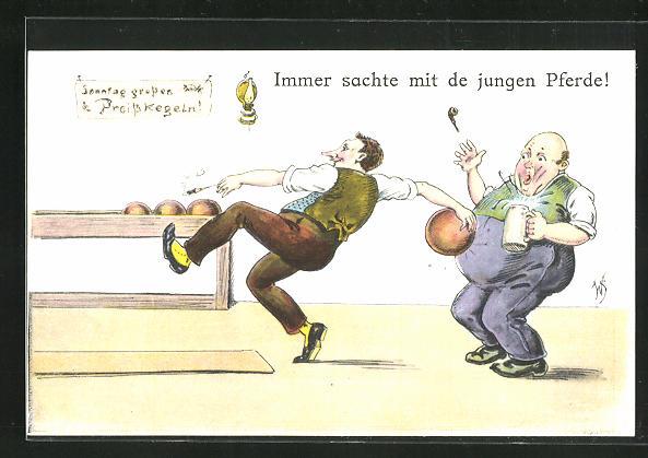 Künstler-AK Willi Scheuermann: Mann zeigt grossen Einsatz beim Kegeln