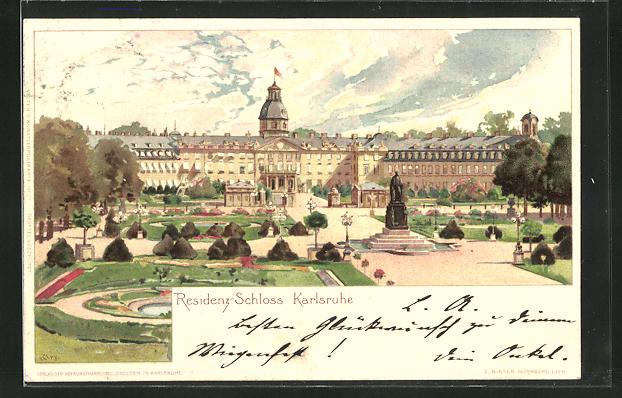 Künstler-AK Heinrich Kley: Karlsruhe, Blick zum Residenz-Schloss