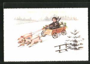 Künstler-AK Elly Frank: Schweine ziehen ein Wägelchen mit Schornsteinfeger