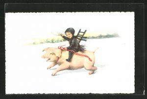 Künstler-AK Elly Frank: Schornsteinfeger reitet auf einem Schwein und winkt mit einem weissen Taschentuch