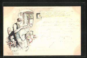 Künstler-AK Fritz Reiss: Frau sitzt mit ihrer Handarbeit am Fenster