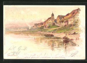 Künstler-AK Fritz Reiss: Jagstfeld, Uferpartie mit Booten
