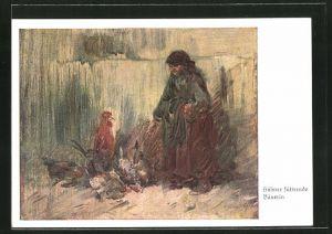 Künstler-AK Wilhelm Busch: Bäuerin füttert die Hühner