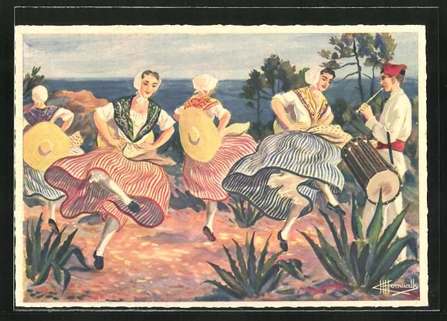 Künstler-AK Charles Homualk: Brandi de Basse-Provence, Ronde Paysanne, Frauen beim Tanz