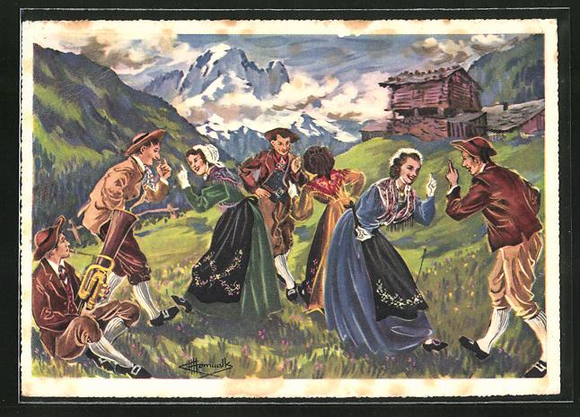Künstler-AK Charles Homualk: Groupe folklorique Les Rhodos, Chamoniards, Männer u. Frauen beim Tanz vor Bergkulisse