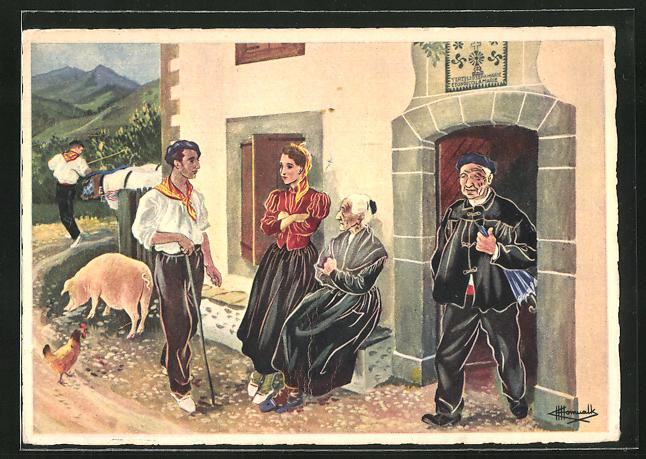 Künstler-AK Charles Homualk: Basse-Navarre, sur le pas de la porte, Frauen unterhalten sich mit dem Hirten