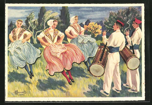 Künstler-AK Charles Homualk: Danse de Salon-de-Provence, La Salonaise, Frauen beim Tanz