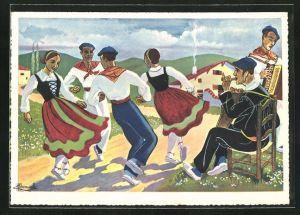 Künstler-AK Charles Homualk: Danseurs de Béghiras en Costume aux Couleurs Nationales, Paare beim Tanz