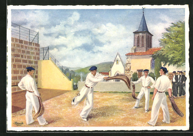Künstler-AK Charles Homualk: Basse-Navarre, Joueur de Pelote à la Chistera, Männer beim Pelota-Spiel